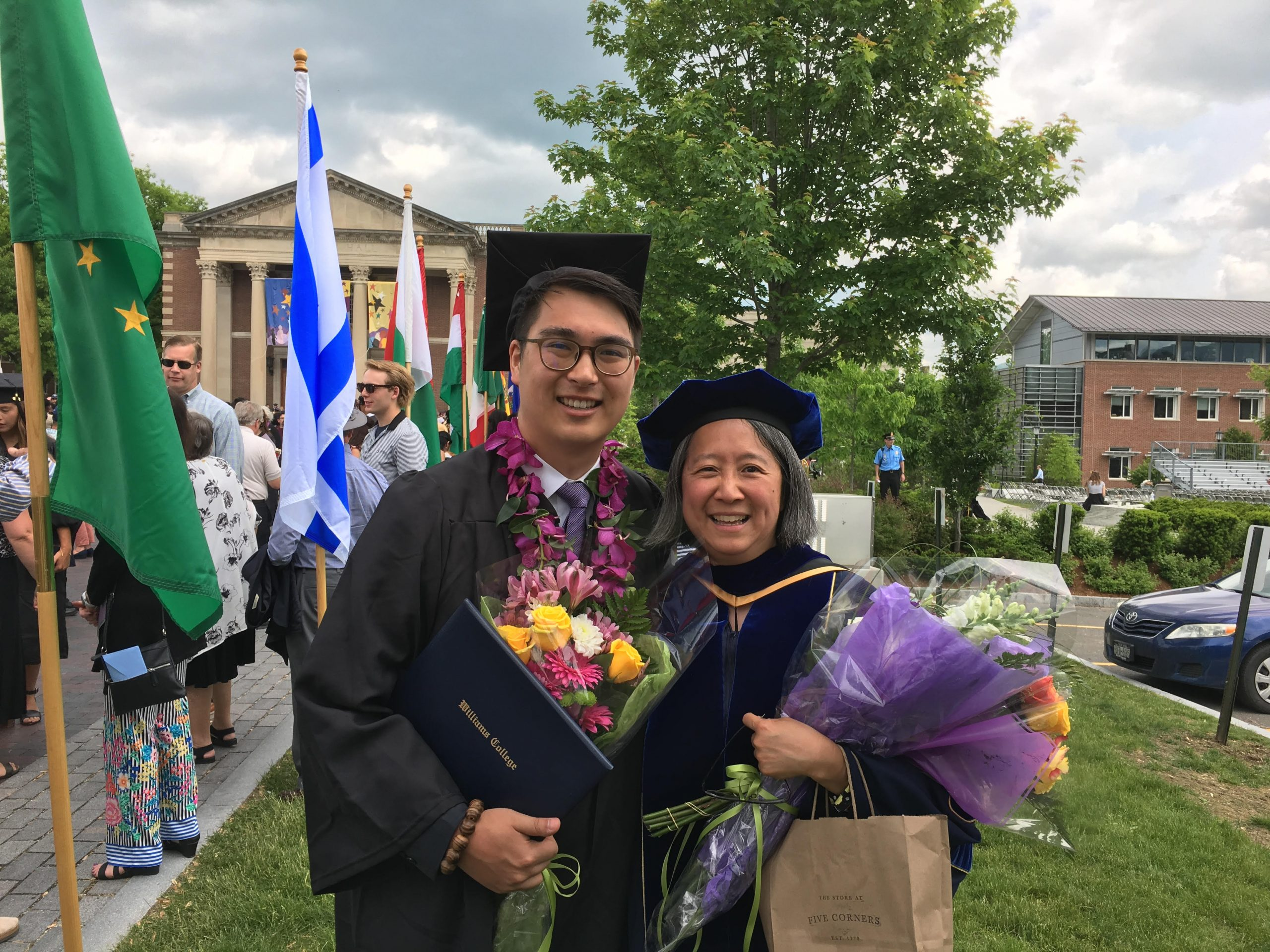 Student and professor at Commencement